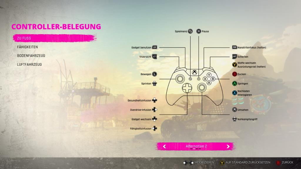 Ein Screenshot der Controller-Belegungen in RAGE 2
