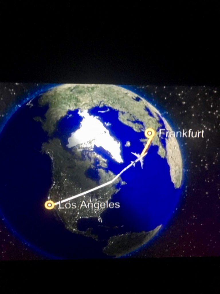 Die Flugroute von Los Angeles nach Frankfurt a/M