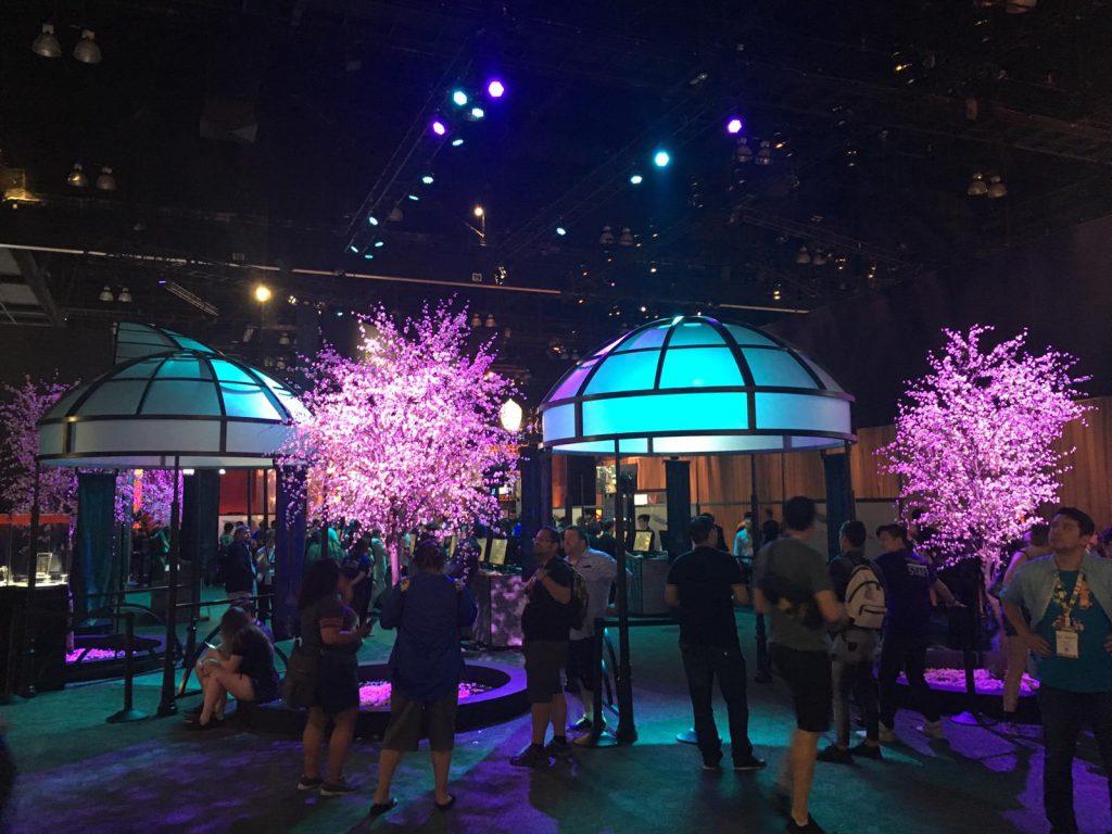 Japanische Kirschbäume und Pavillons zu Final Fantasy 7.