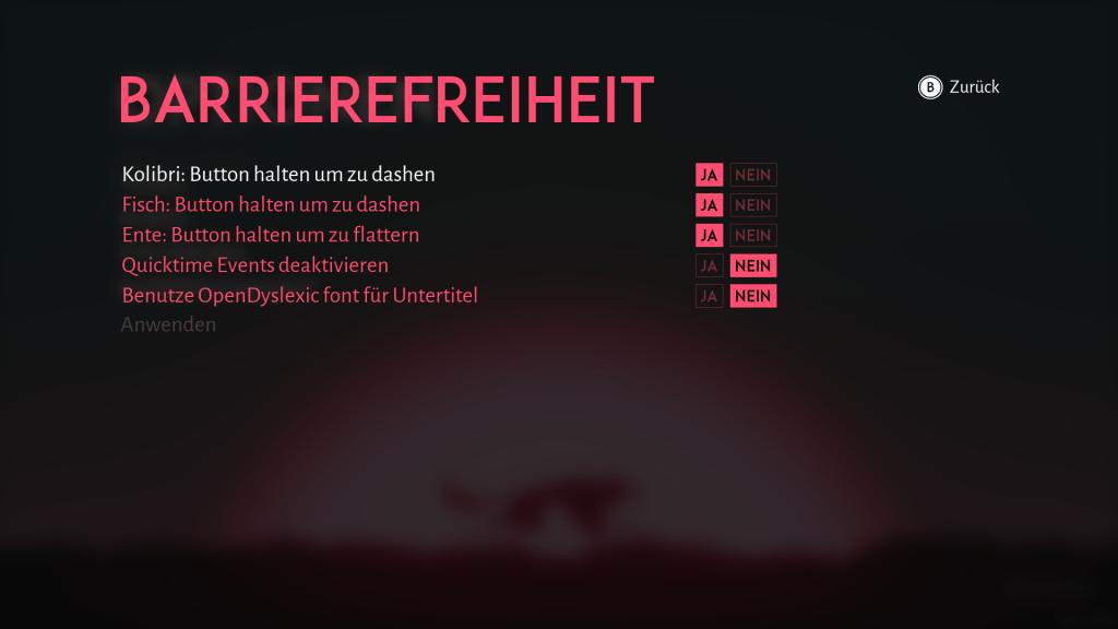Optionen für Barrierefreiheit: Button halten statt mashen für Kolibri, Fisch und Ente. QuickTimeEvents deaktivieren Ja/Nein. OpenDyslexicFont für Untertitel benutzen Ja/Nein.