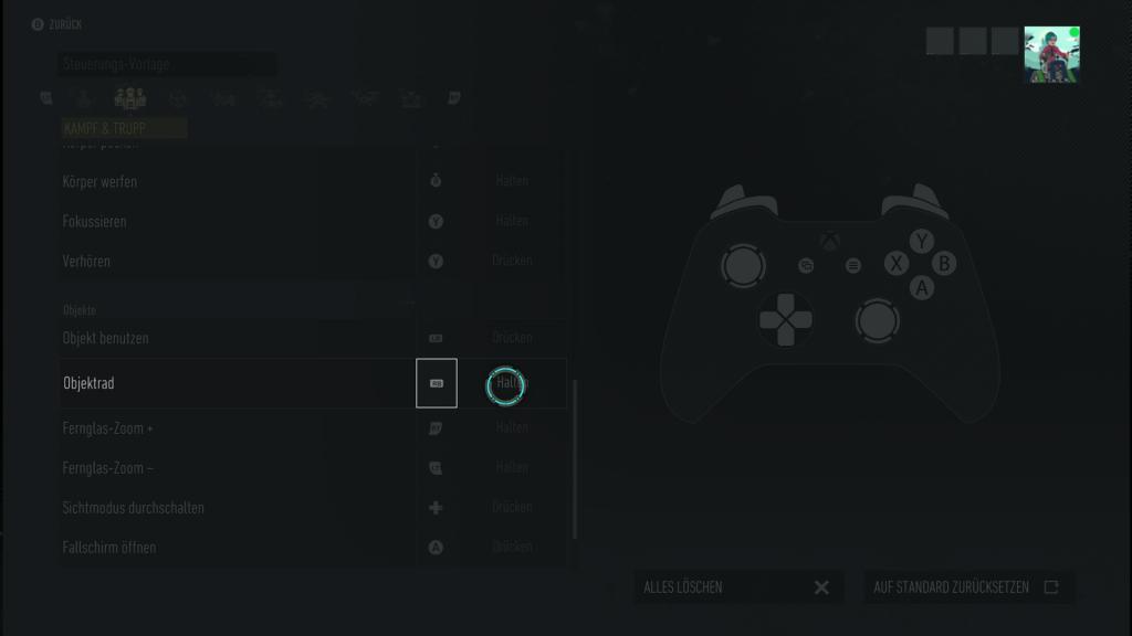 """In diesem Screenshot wird gezeigt, dass für das """"Objektrad"""" keine Alternative zum Halten zur Verfügung gestellt wird."""