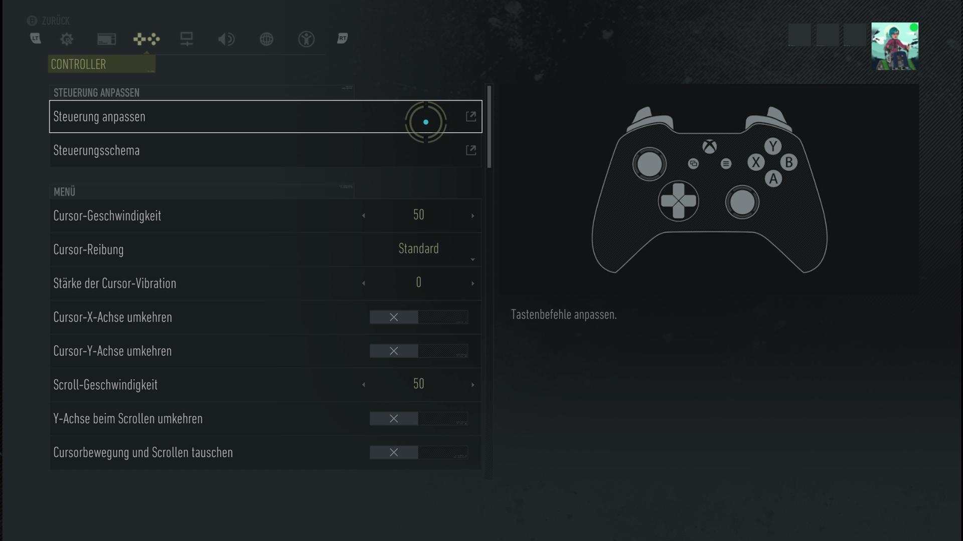 Ein Screenshot vom Menü für die Controller-Optionen.