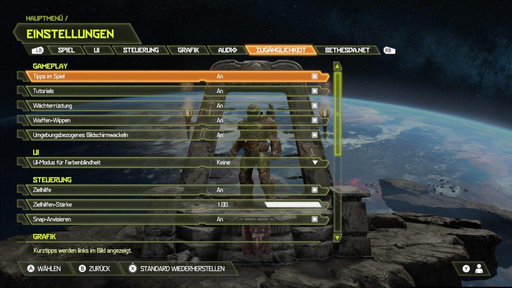 Erste Seite im Menü Einstellungen, Zugänglichkeit. Es sind Einstellungen für Gameplay, User Interface und Steuerung zu finden.