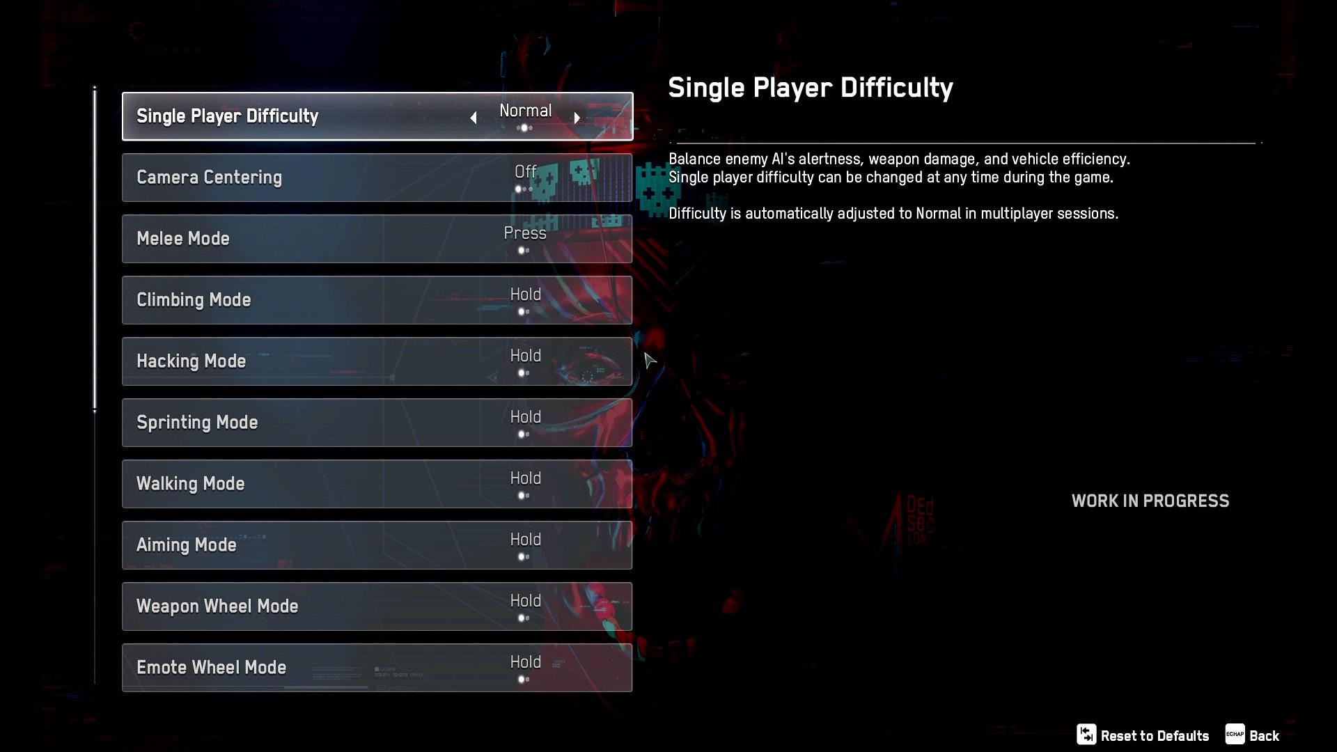 Erste Hälfte der Gameplay-Optionen. Hier befinden sich Einstellungen für die Schwierigkeit sowie die Kamerazentrierung. Außerdem kann für folgende Aktionen zwischen Einrasten oder Halten gewählt werden: Klettern, Hacken, Sprinten, Laufen, Zielen, Waffenrad, Emotionsrad.