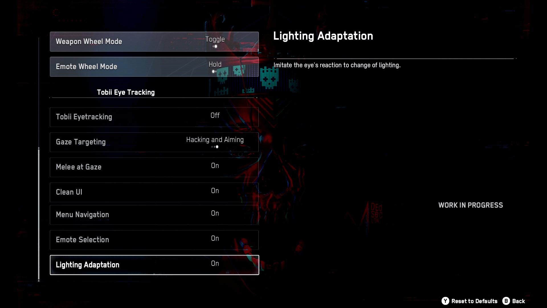 Zweite Hälfte der Gameplay-Optionen. Hier befinden sich verschiedene Einstellungen für den Tobii-Eyetracker.