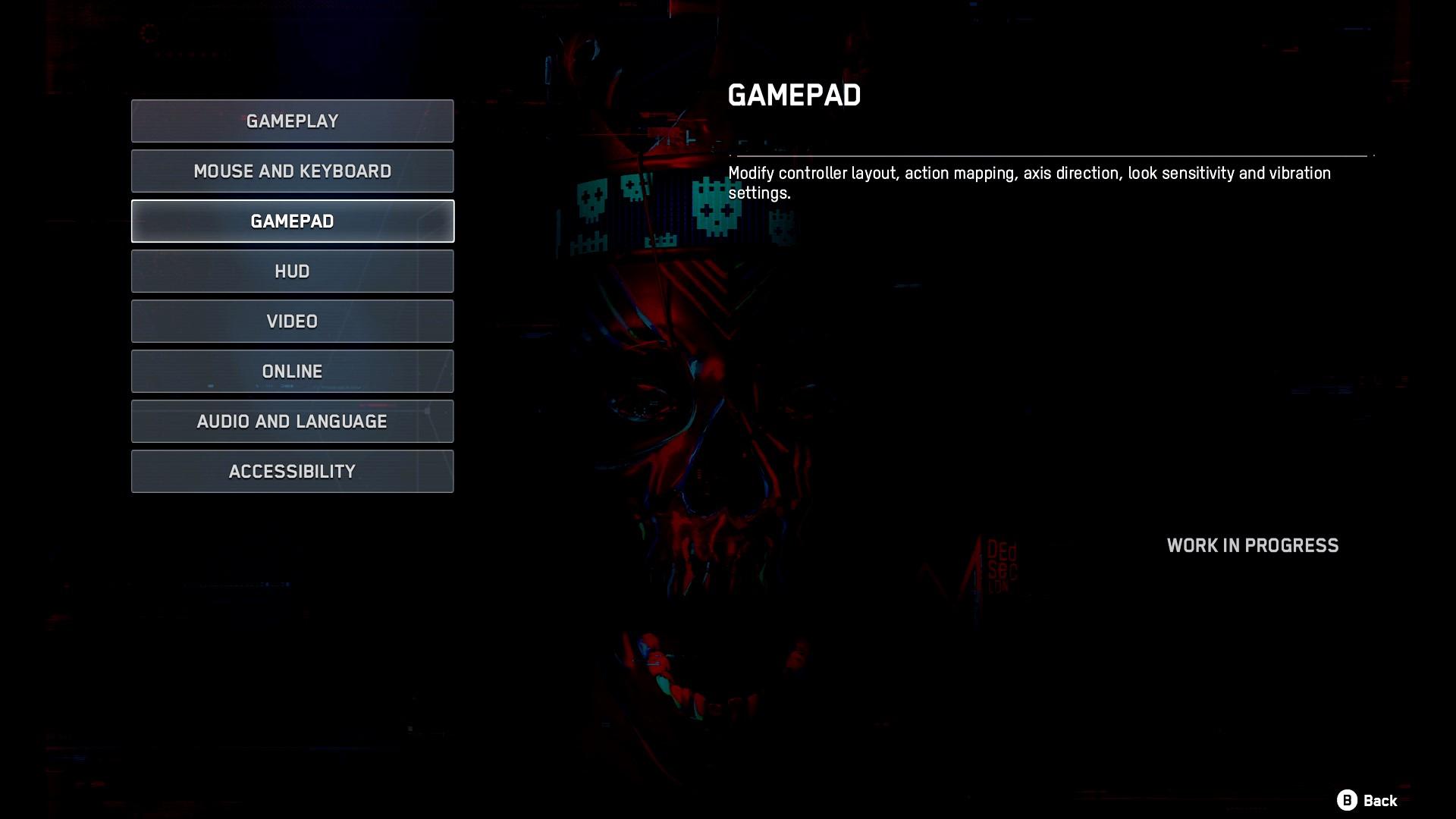 Übersicht über die Optionen. Es gibt: Gameplay, Maus und Tastatur, Gamepad, HUD, Video, Online, Audio und Sprache, Accessibility.